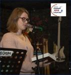 Marijke F. Jansen tijdens de Poëzie Estafette Lelystad 2019